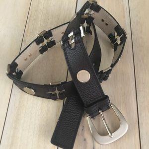 Michael Kors Studded Button Leather Belt